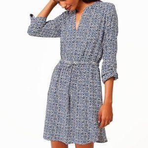 Loft Elasticized Waist V-neck Dress Medium Petite